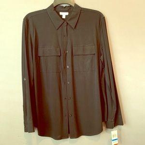 Women's black buttoned blouse